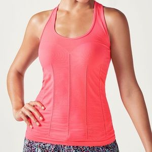 Fabletics Athletic Delta Seamless Tank Coral Large